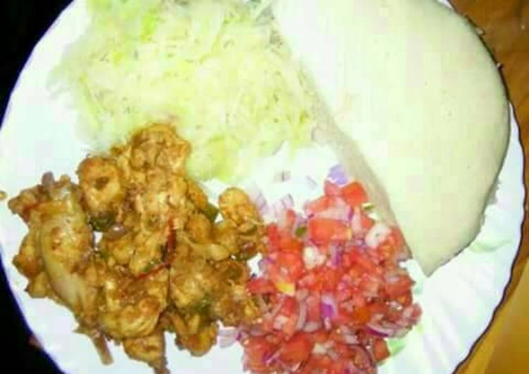 Fried beef and salad