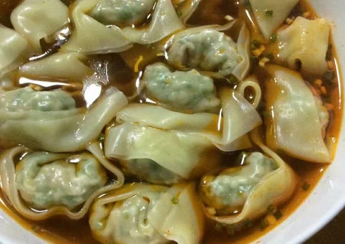 Home-made wonton soup
