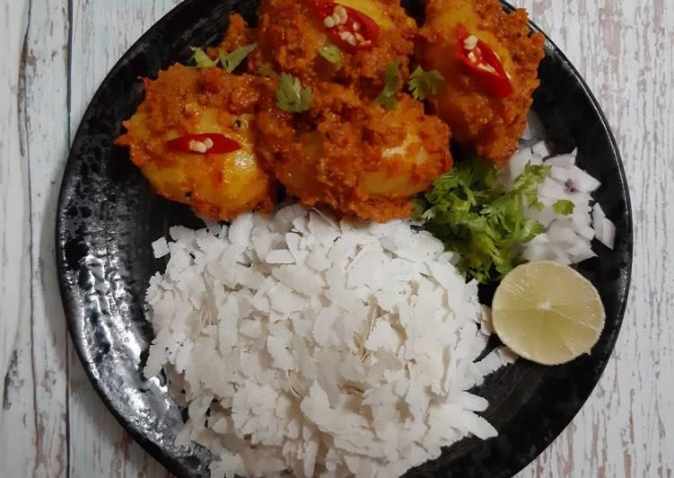 Nepali style Aloo Dum with Chiwda /Poha/ Flattened rice