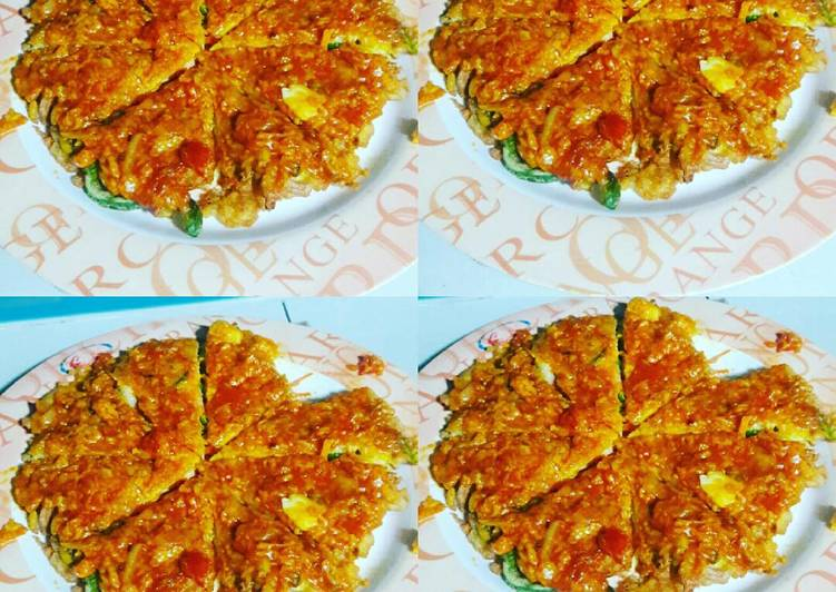Telur dadar pizza saus royco