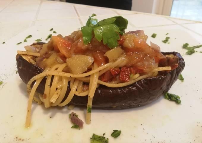 Bavettine con Melanzane, Pomodori Freschi e Pomodori Secchi Sott