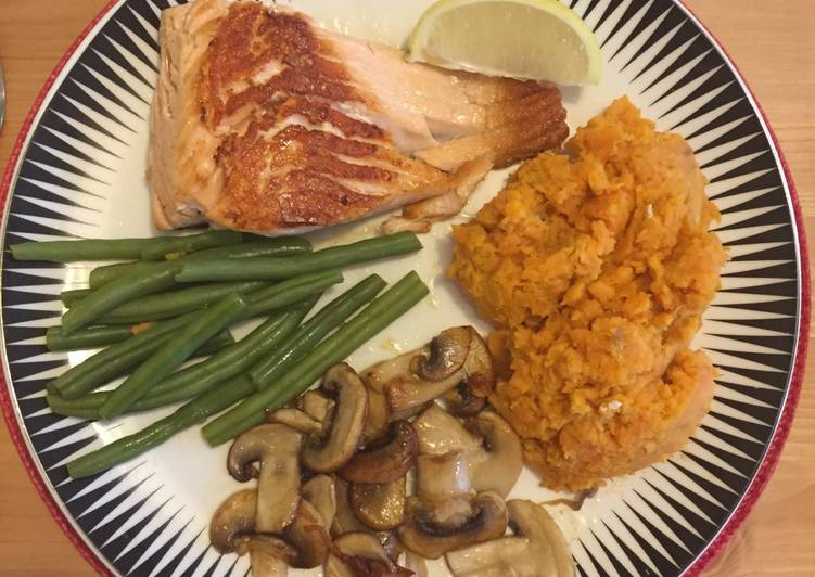 Salmon with sweet potato mash and vegetables, Coconut Oil Is Actually A Great Product And Can In Addition Be Advantageous For Your Health