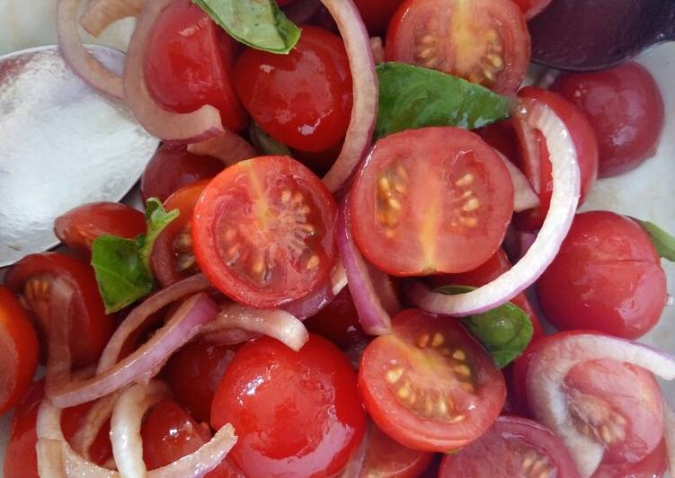 Simple Way to Prepare Ultimate Tomato, red onion, basil and balsamic salad