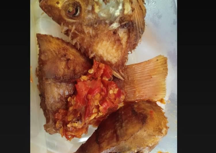 Ikan Nila Goreng + Sambel Bawang Terasi
