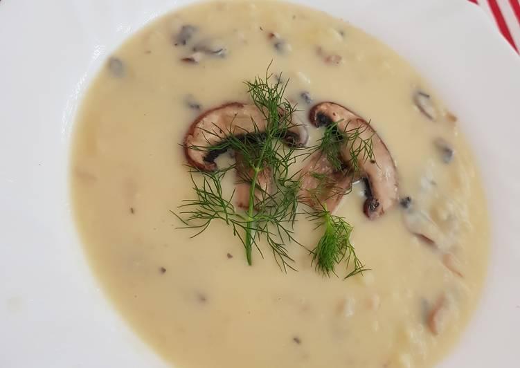 суп пюре с грибами с плавленным сыром