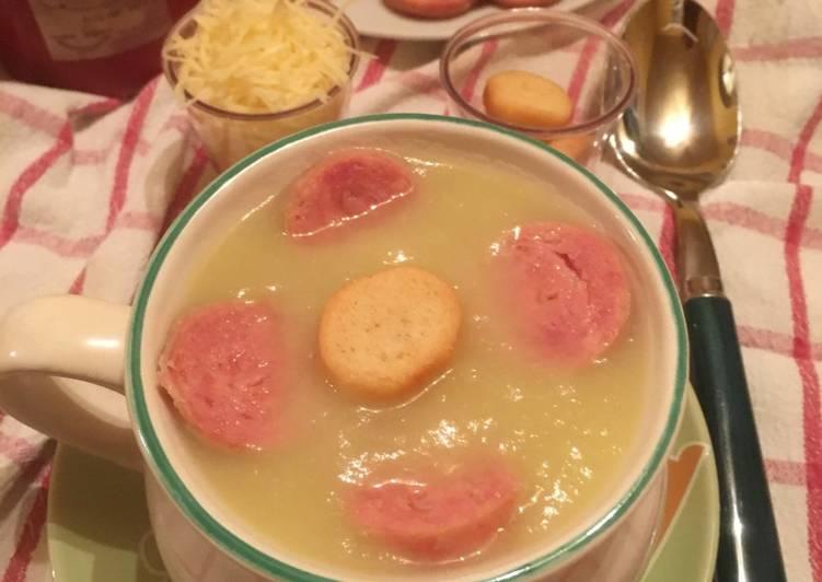 Facile Pas Cher  Potage aux poireaux, pommes de terre et saucisses