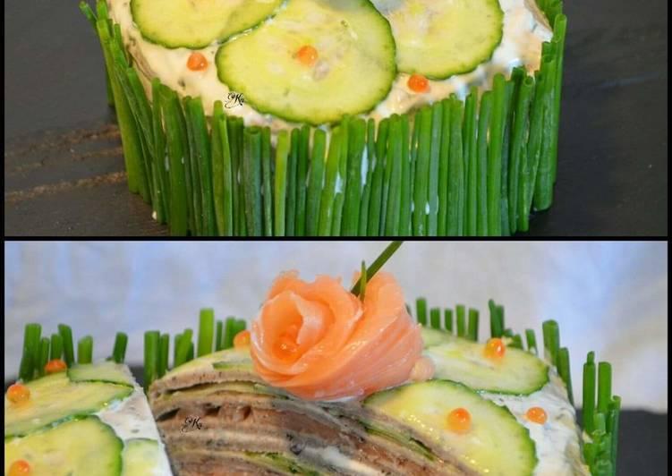 Millefeuille de crêpes de blé noir au saumon