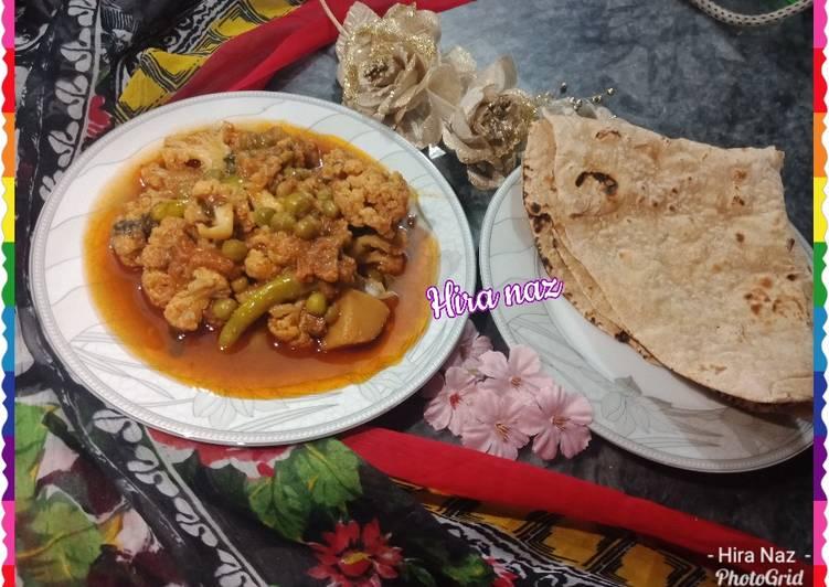 Mix Vegetable Sabzi with Roti. Recipe by Hira Naz - Cookpad