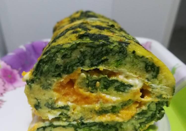 Rotolo di spinaci, con Philadelphia e crema di zucca
