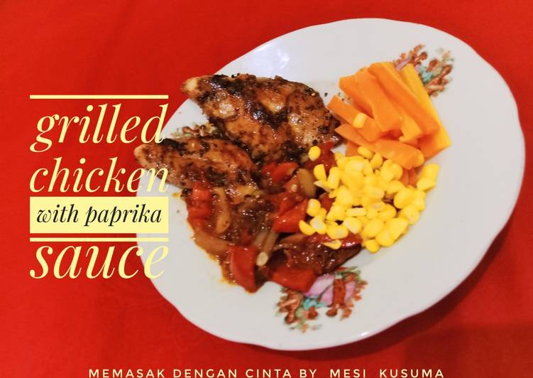 38. Grilled black pepper chicken steak with paprika sauce