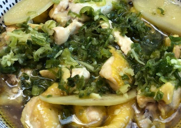Steamed Chicken With Scallions and Ginger