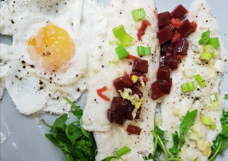 Easiest Way to Prepare Delicious Late Breakfast Early Lunch, Poached Cod & poached Egg😀