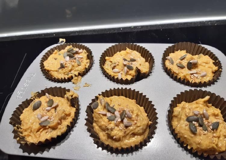 Pumpkin and spelt muffins (sugarless and butterless)