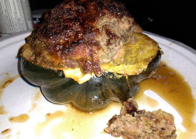 Coconut ginger and beef stuffed acorn squash