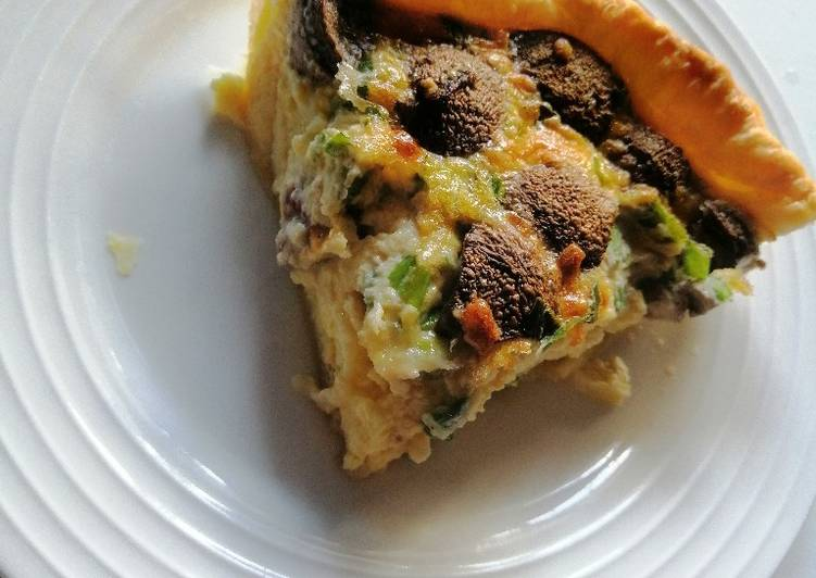 Mushroom and spring onion quiche
