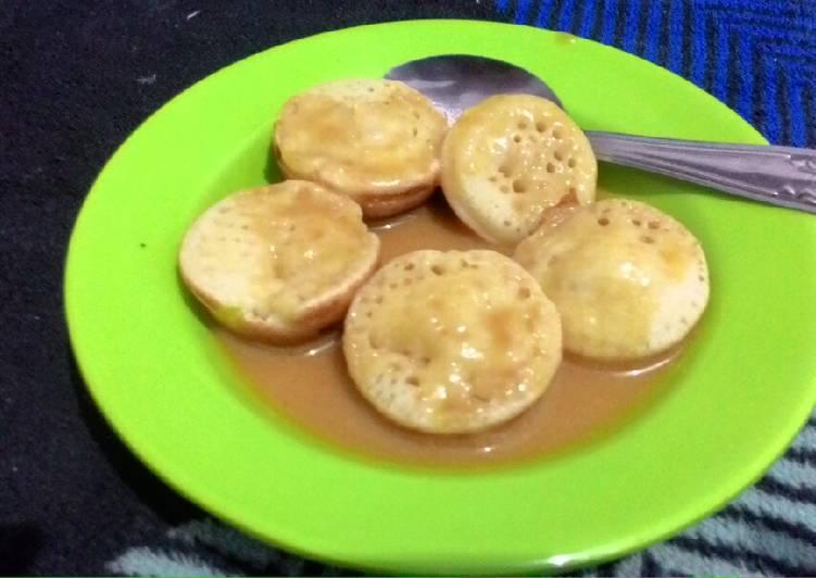 Serabi Mini Kuah Kinca (takaran sendok, pakai cetakan takoyaki)