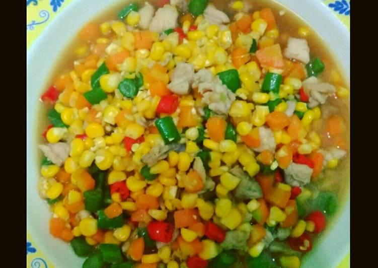 Tumis ayam Pelangi (wortel, jagung, buncis)