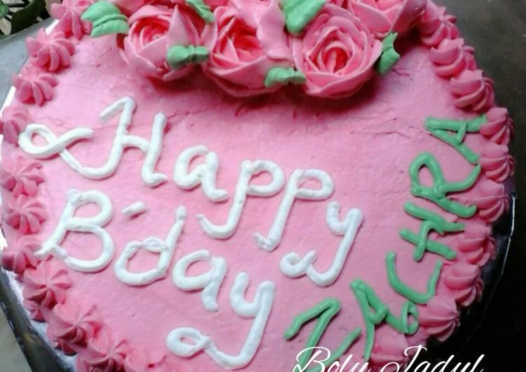 Zachra birthday cake a.k.a Bolu jadul + resep butter cream - cookandrecipe.com