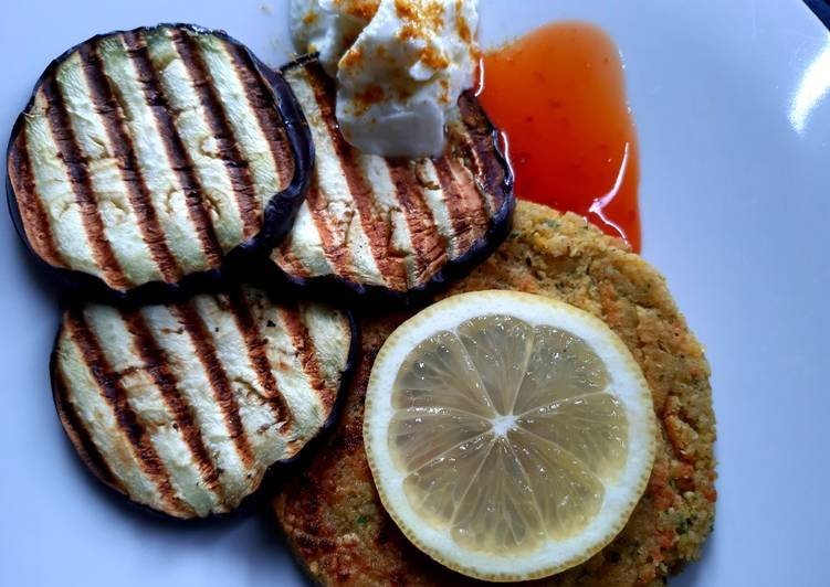 Recipe of Perfect Falafel with aubergine and curry dusted yogurt