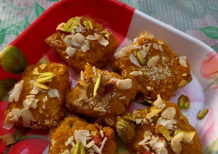 How to Prepare Quick Mawa coconut mango barfii