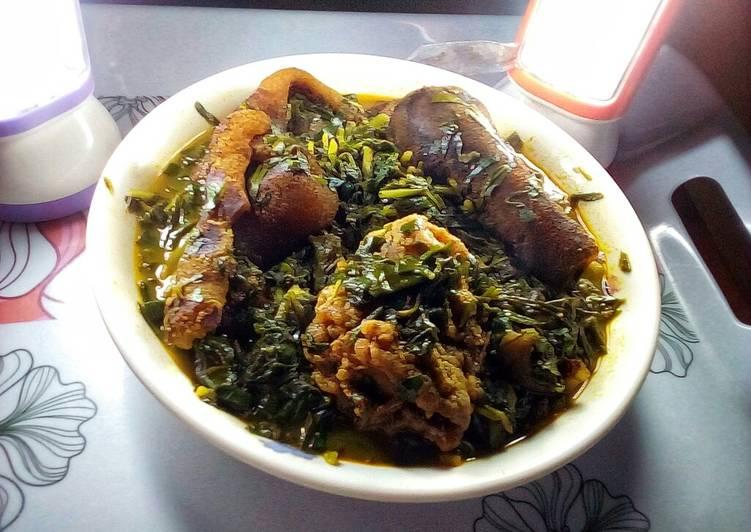 Etinkeni Mmong Ikong(waterleaf and Uziza)soup