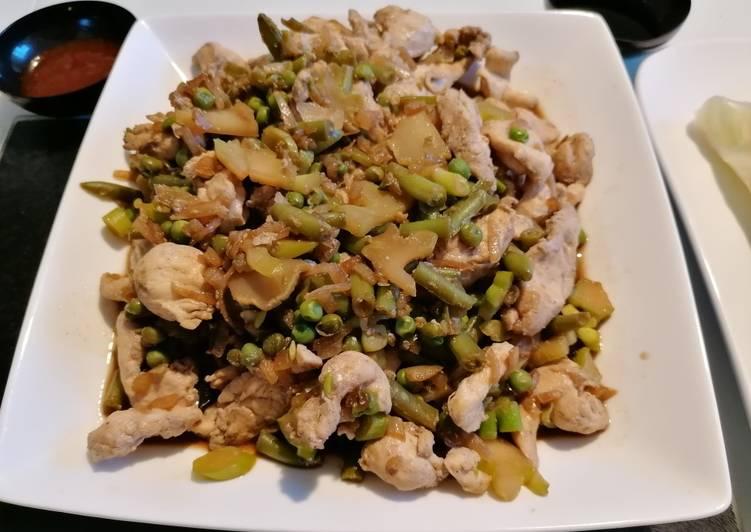 Poulet légumes soja