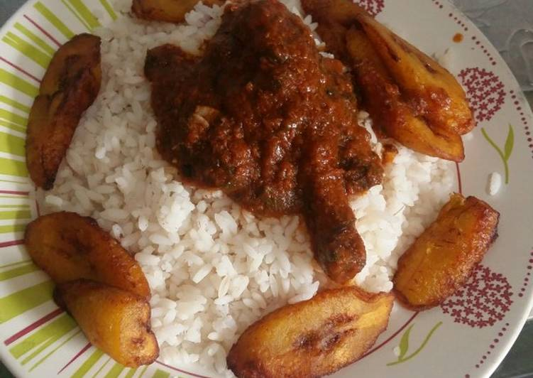 Easiest Way to Prepare Quick White Rice, chicken stew and plantain