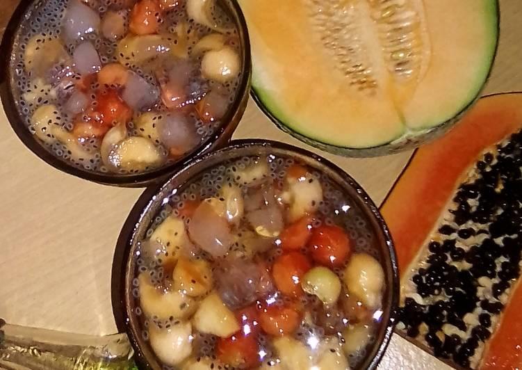Es Buah Pepaya Melon Selasih Syrup Melon