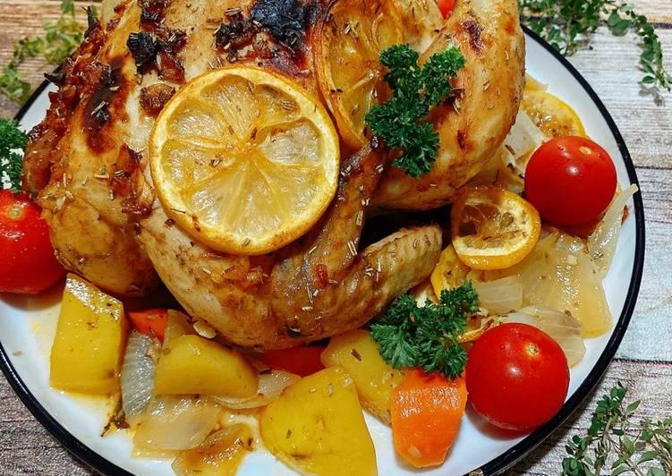 Garlic Herb Butter Roast Chicken - cookandrecipe.com
