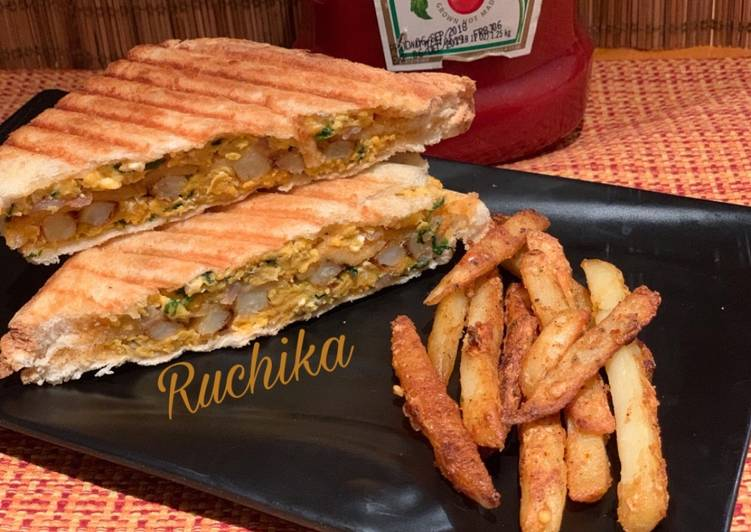 Step-by-Step Guide to Make Award-winning Scrambled eggs and masala fries sandwich