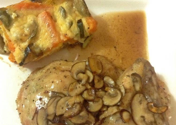 Roast Chicken with Wild Mushroom and Madeira Roasting Juice