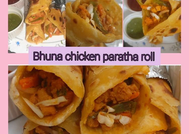 Bhuna chicken paratha roll😍
