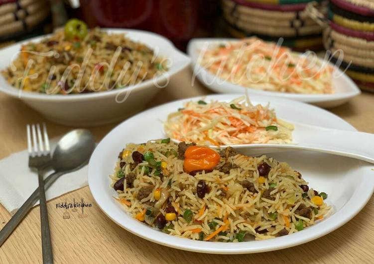Recipe of Favorite Minced meat fried rice & easy coleslaw