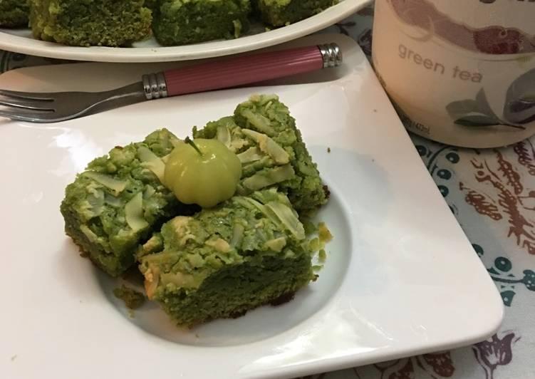 Green tea cheese brownies