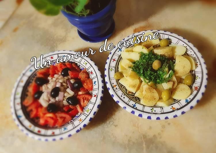 Salade de tomate et salade de pomme de terre