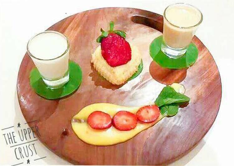 Galangal Cake with Tofu Pudding, Saffron and Lime custard Coconut Lemongrass sorbet