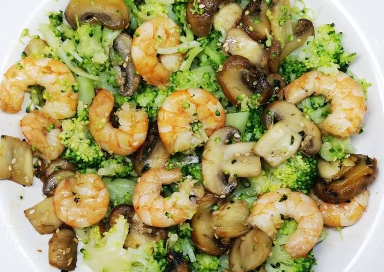 Brocolis au champignons et crevettes