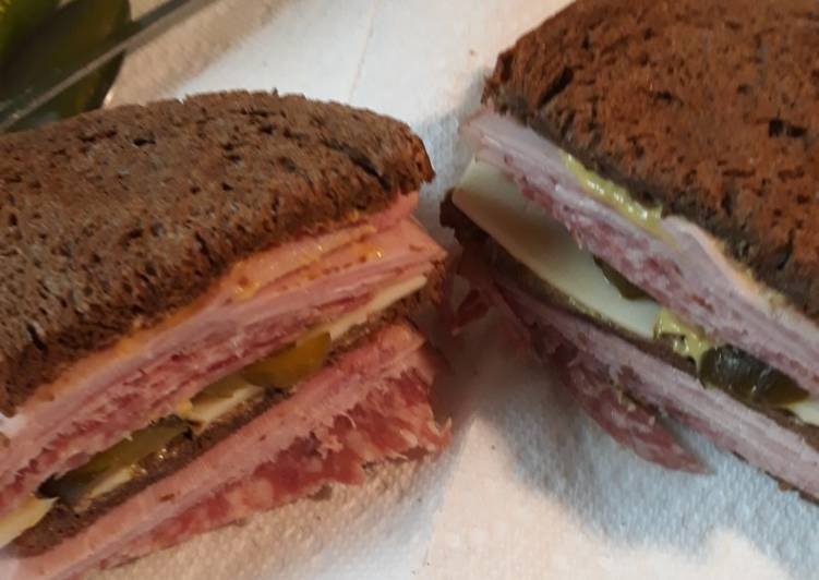 25 Minute Recipe of Vegan Salami Swiss and Ham on Rye