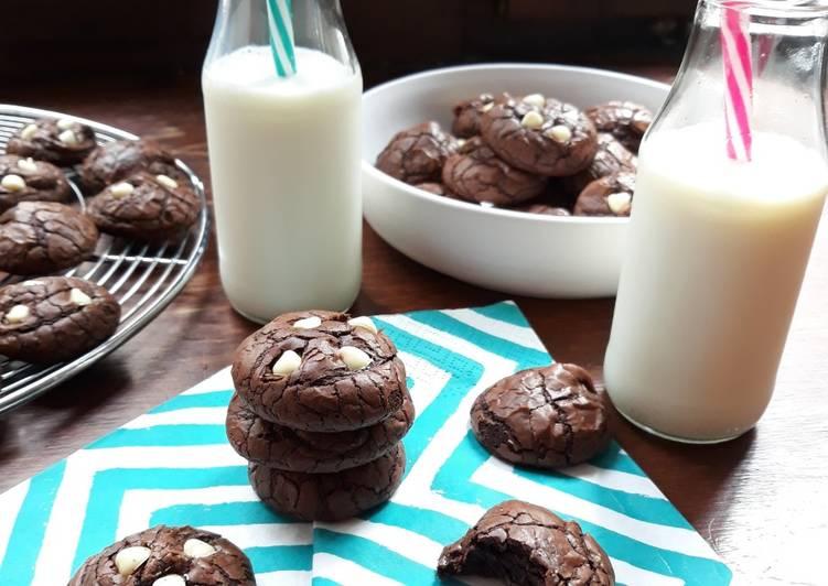 recette ☆Cookies Brownies aux Pépites de Chocolat Blanc☆ Le plus simple
