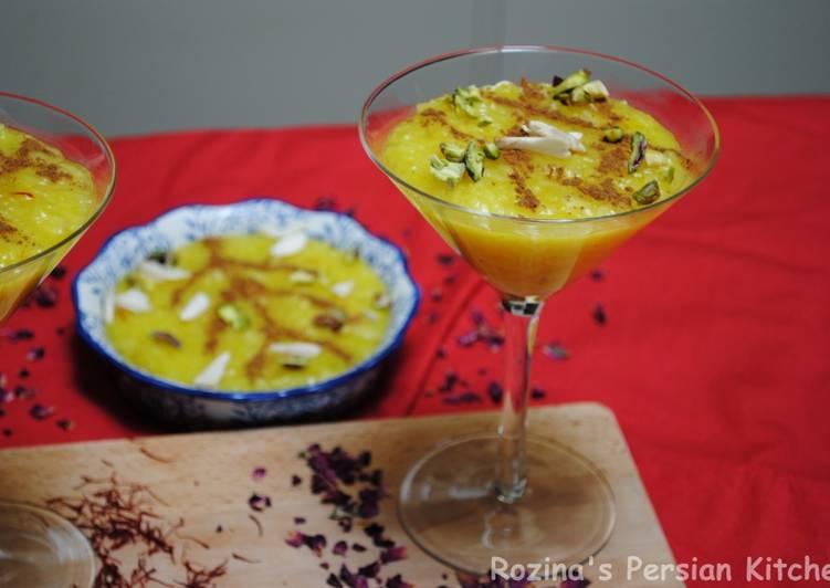 Simple Way to Make Any-night-of-the-week Persian saffron rice pudding (Sholeh zard)