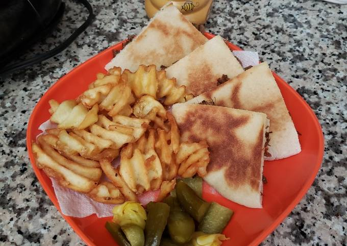 Meat Sandwiches with fries
