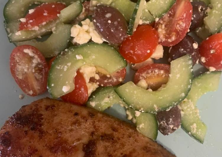 Cajun Chicken Breasts & Easy Greek Salad