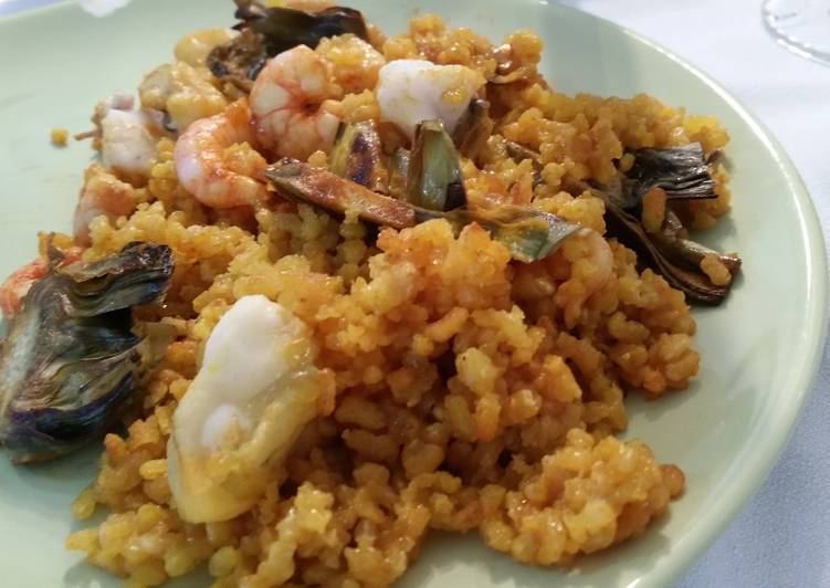 Recipe: Delicious Seafood paella with artichokes