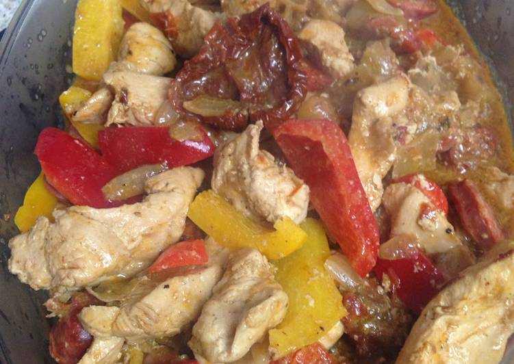 Step-by-Step Guide to Make Favorite My Peppered Chicken and Chorizo Bake 💜