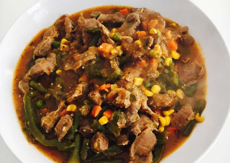 Recipe of Ultimate Chicken gizzard and mixed vegetables stew