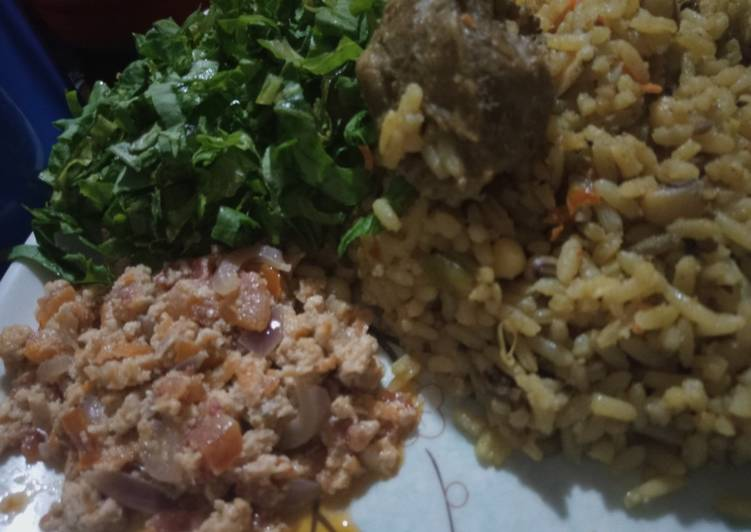 Rice and Beans jollof with egg source