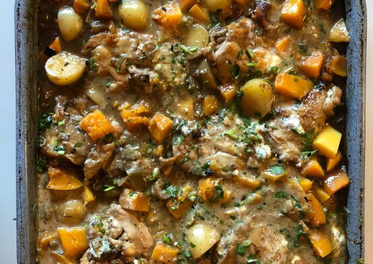 Chicken, potato and butternut squash oven-bake