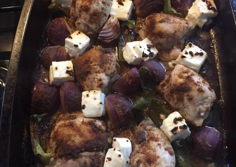 Harissa Chicken thigh tray bake