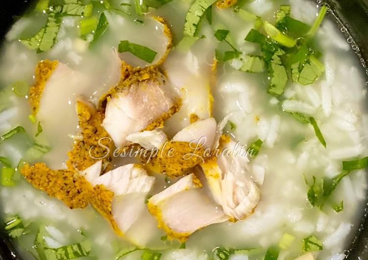 Bubur Nasi bersama Daun Kaduk & Tenggiri Bakar (Eat Clean Lunch)