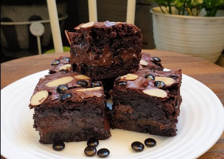 Triple Fudge Brownies with Almond Slice